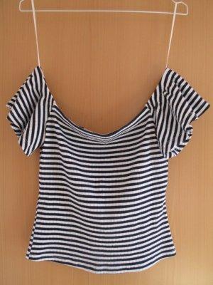 Schulterfreies blau-weiß-gestreiftes T-Shirt
