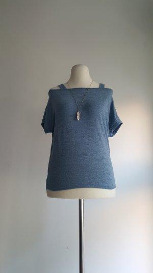 Top asymétrique gris ardoise polyester