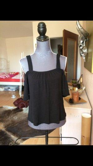 Schulterfreies Carmen Shirt schwarz Größe XS