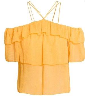 H&M Volanten top licht Oranje