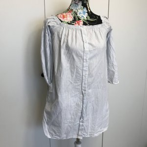 Zara Tunique-blouse blanc-bleu azur