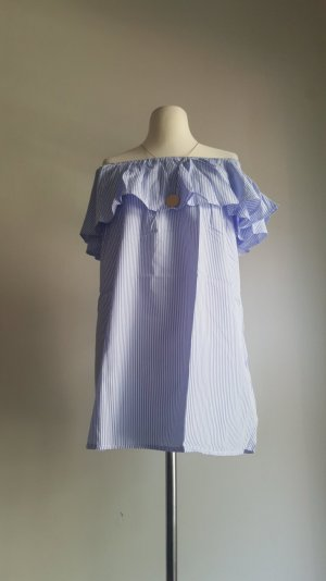Off-The-Shoulder Dress white-cornflower blue