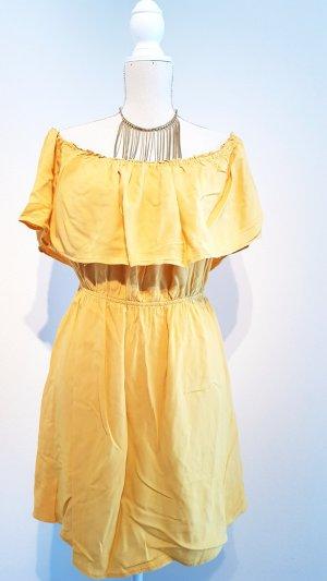 Mango Off the shoulder jurk geel-goud Oranje