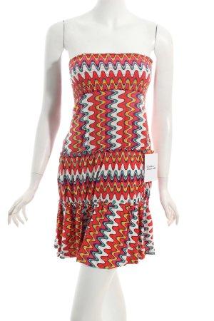 schulterfreies Kleid abstraktes Muster Beach-Look