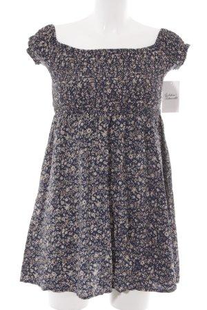 schulterfreies Kleid dunkelblau-hellbeige florales Muster Beach-Look