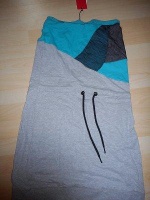 Schulterfreies Kleid, Grau/Blau, Größe M, ungetragen, NEU mit Preisschild