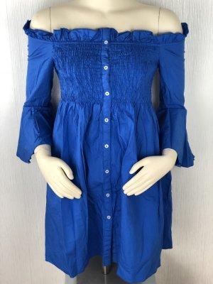 Schulterfreies Kleid in blau von Mango