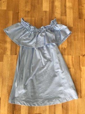 H&M Off the shoulder jurk azuur Katoen