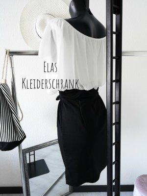 Off the shoulder jurk wit-zwart