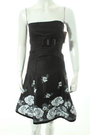 Vestido strapless negro estampado floral estilo fiesta