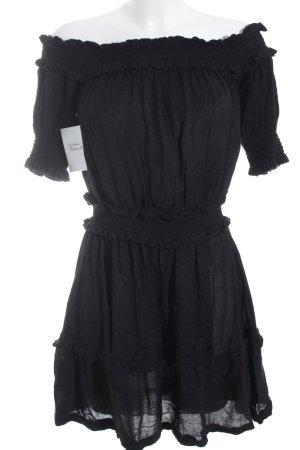schulterfreies Kleid schwarz Punktemuster Beach-Look