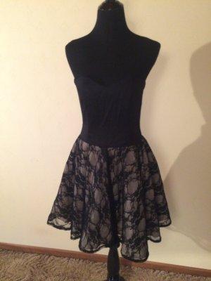 Schulterfreies Kleid spitze schwarz