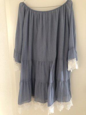 Hallhuber Off-The-Shoulder Dress azure-white