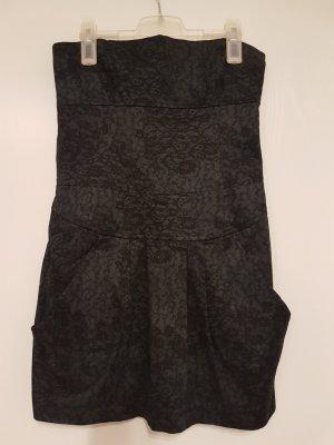 Zara Vestido strapless negro Algodón