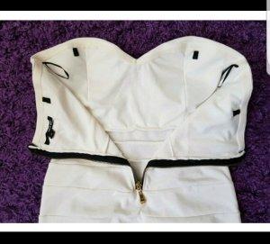 Schulterfreies Kleid, weiß, Gr. 38