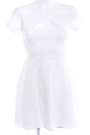 schulterfreies Kleid weiß-wollweiß Casual-Look