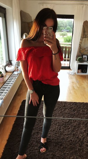 H&M One Shoulder Top red
