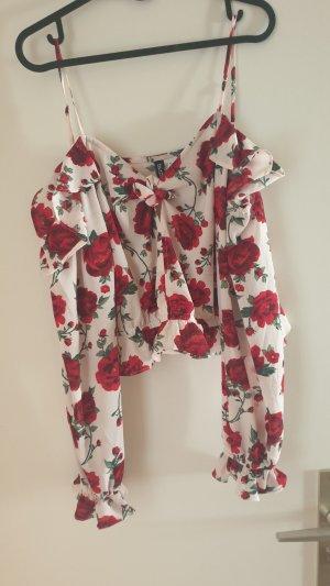 Camisa de un solo hombro blanco-rojo