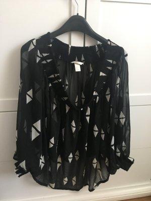 H&M Oversized blouse zwart-wit
