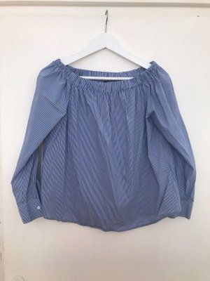 Zara Off the shoulder top wit-blauw