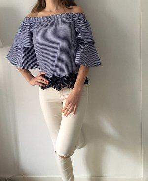 Zara Top spalle scoperte bianco-blu scuro