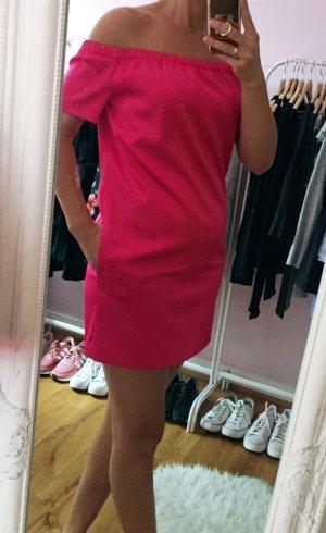 Schulterfreies Pinkfarbenes Satinkleid von Make Größe 2 bzw Größe 36