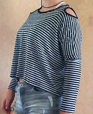 Camisa de rayas negro-color plata