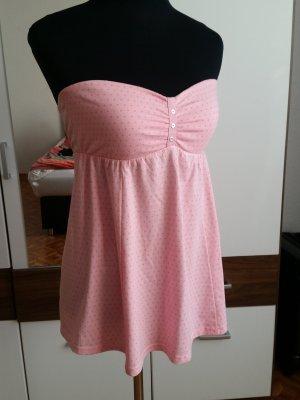 Schulterfreies rosa Top