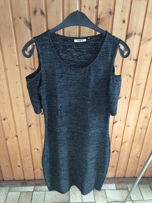 Schulterfreies, schwarz/glitzerndes Kleid