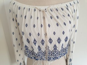 H&M Camisa tipo Carmen blanco puro-azul