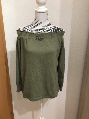 Camisa de un solo hombro caqui