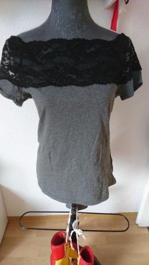 H&M Camisa de un solo hombro negro-gris