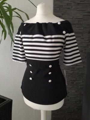 Carmen shirt wit-zwart