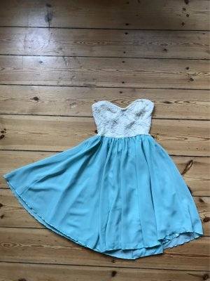 Topshop Off-The-Shoulder Dress cream-baby blue
