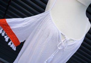Anmol Off-The-Shoulder Dress white-red viscose