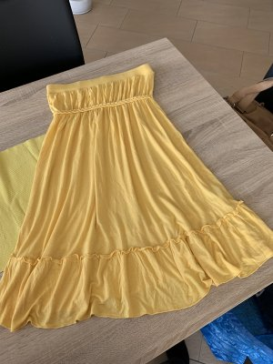 Schulterfreies Strandkleid gelb