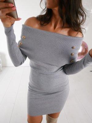Off the shoulder jurk lichtgrijs-grijs