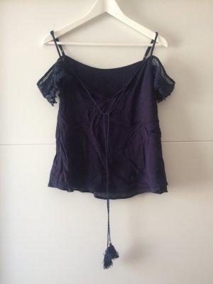 Schulterfreies T-Shirt mit Spitzenärmeln, Größe 36