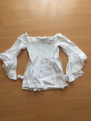 Zara Basic Camicetta con arricciature bianco