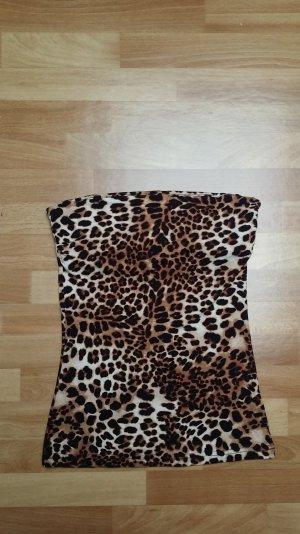 Schulterfreies Top,beige-braun leomuster, Gr. S/ H&M