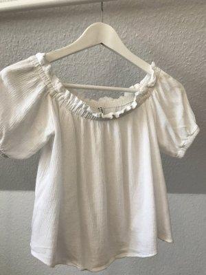 Bershka Cropped Shirt white