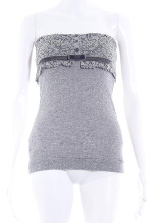 Off the shoulder top grijs-donkergrijs simpele stijl