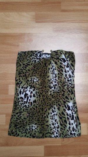 Schulterfreies Top,grün schwarz weiß leomuster, Gr. S