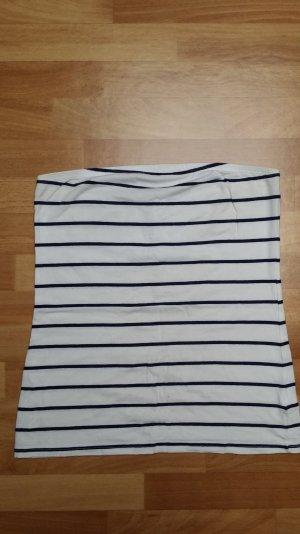 Schulterfreies Top, in weiß-dunkel blau, Gr. S/ H&M
