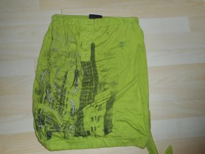 Schulterfreies Top v. Neighborhood, Größe 36, grün + Muster, Gummibund +Schleife