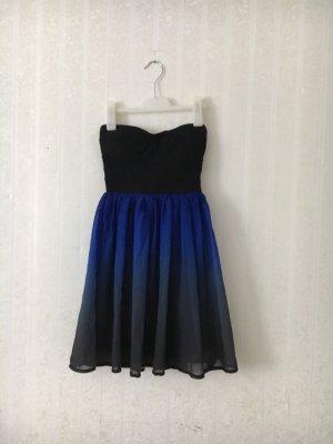 Schulterfreies / Trägerloses Kleid Schwarz / Blau