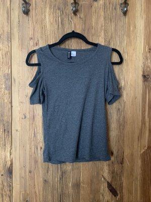H&M Camisa acanalada gris oscuro-gris