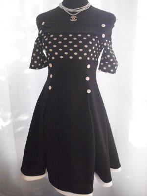 Schulterfreies Vintage Kleid schwarz/weiß Größe S