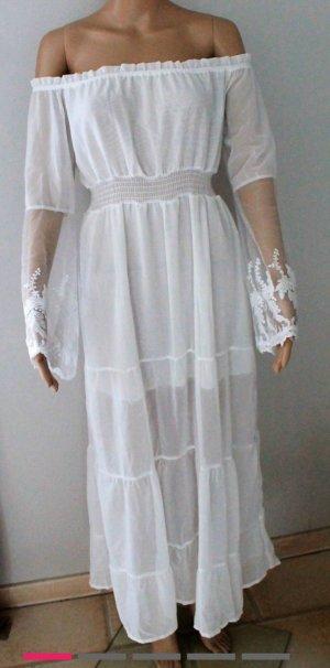 Schulterfreies weißes Sommerkleid