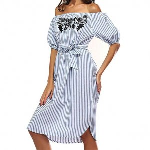 Babydoll Dress azure-white